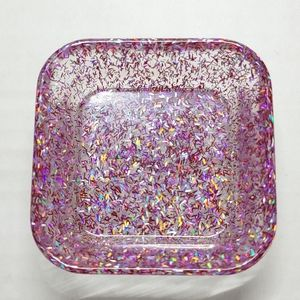 Trinket Dish Square Red, Pink & Silver Glitter